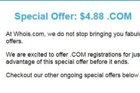 COM域名首年注册仅需4.88美元优惠活动