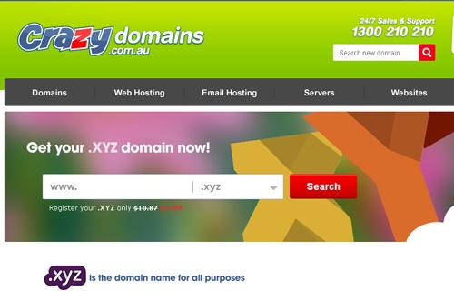 crazydomains注册.xyz域名目前仅需1美元