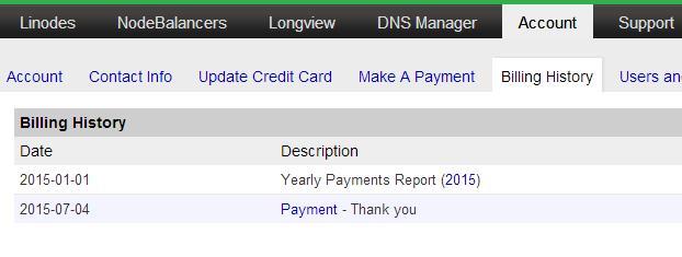 Linode 新手教程:Account(账户) Billing History(财务记录)