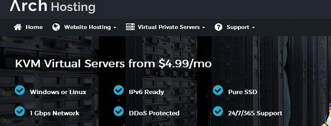 ArchHosting 洛杉矶便宜vps主机年付18美元/KVM/512MB/SSD空间